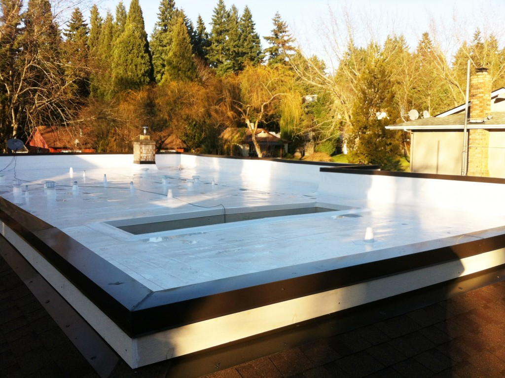 New flat PVC roof in Seattle, WA